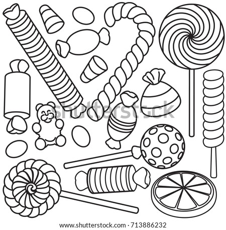 Set Of Doodle Sketch Sweets And Candy. Coloring Pages For Kids