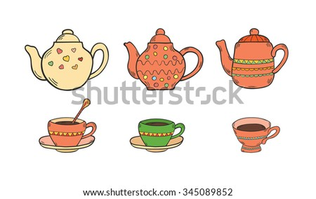 Set of doodle tea pots and cups isolated on white background. Hand drawn colorful illustration