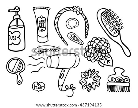 Set Doodle Tools Hairdresser Good Coloring Stock Vector 437194135 ...