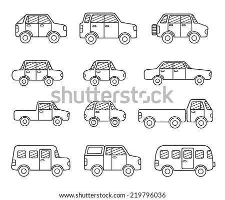 set of doodle transport icons - stock vector