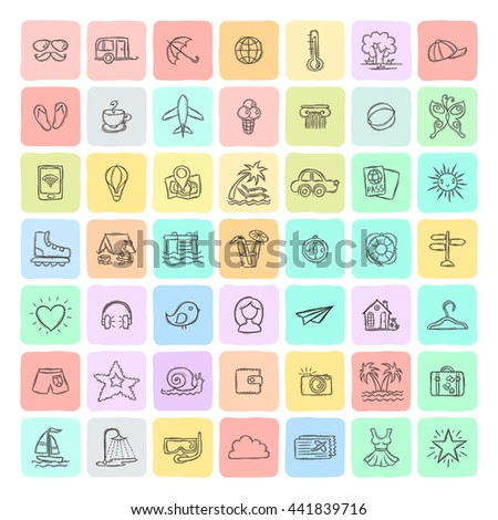 Set of Doodle Travel Icons. Vector universal collection.