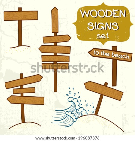 Set of doodle wooden signs, signboard and direction arrows. Collection of various empty road signs on light grunge background.