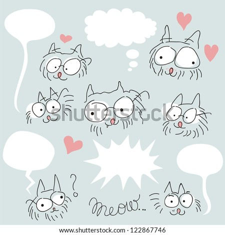 Set of doodled bespectacled cat faces and speech balloons - stock vector
