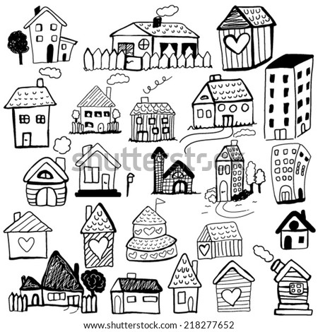 Set of doodled houses - stock vector
