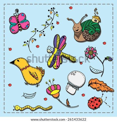 Set of doodles: flora, insects and birds - stock vector