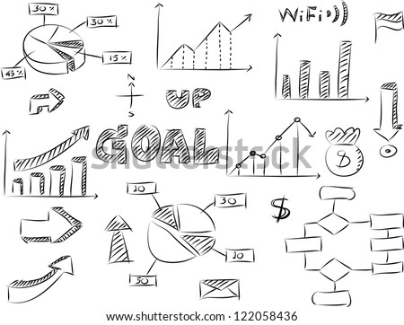 Set of Doodles Graphic and Finance Diagram Vector Sketched, EPS 10. - stock vector