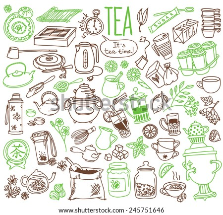Set of doodles, hand drawn rough simple tea theme sketches, various kinds of tea, ingredients and devices for tea making. Vector isolated on white background for cafe menu, fliers, chalkboard - stock vector