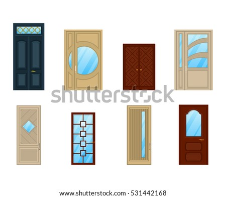 Set doors glass windows design interior stock vector 531442168 set of doors with glass or windows design interior wooden or wood entrance architecture planetlyrics