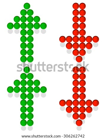 Set of dotted up and down arrows. Red and green arrows pointing upward, downward. Vector. - stock vector