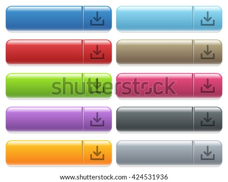 Set of download glossy color menu buttons with engraved icons - stock vector