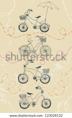 Set of drawing bicycles - stock vector