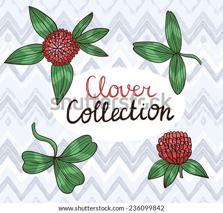 Set of drawing clover leaves and flowers, hand drawn vector illustration  - stock vector