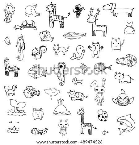 set of drawing doodle of cute animal in black line on a white background