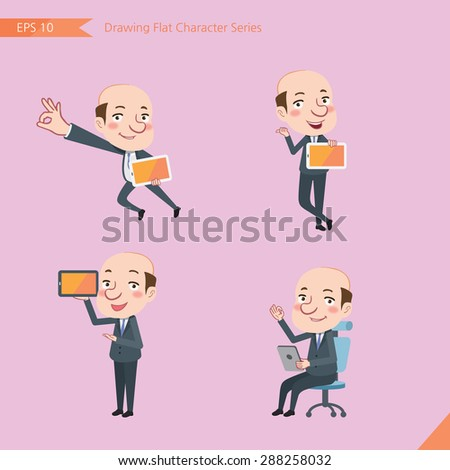 Set of drawing flat character style, business concept bald boss activities - tablet device, flying, explain, counsel - stock vector