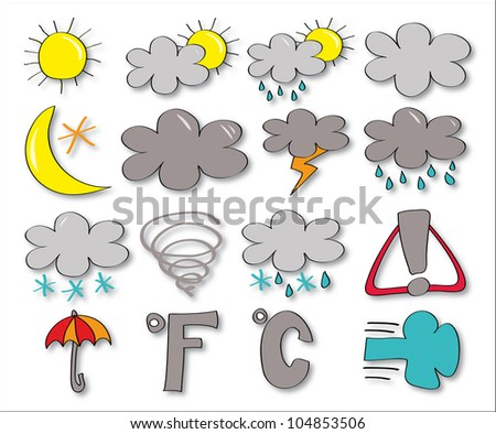 Set of drawing icon - weather forecast - stock vector