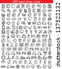 Set of 150 drawing icons for web and mobile. Vector illustration. - stock vector