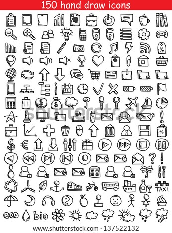 Set of 150 drawing icons for web and mobile. Vector illustration.