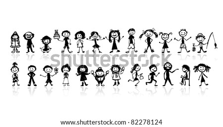 Set of 24 drawing people's for your design - stock vector