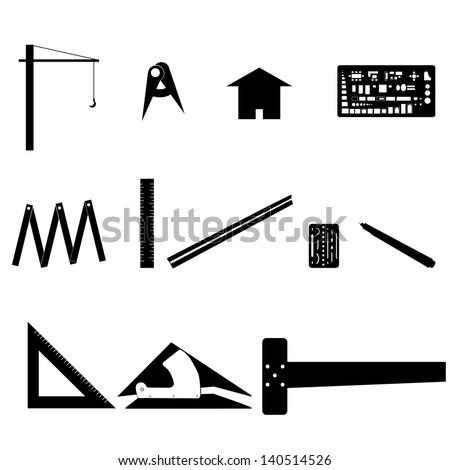 Set of Drawing Tools. Engineering symbol. - stock vector