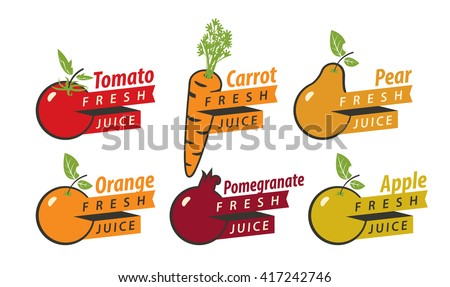 set of drawings fruits with the names of for fresh juice