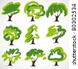 Set Of Drawn by a paint vector Trees - stock