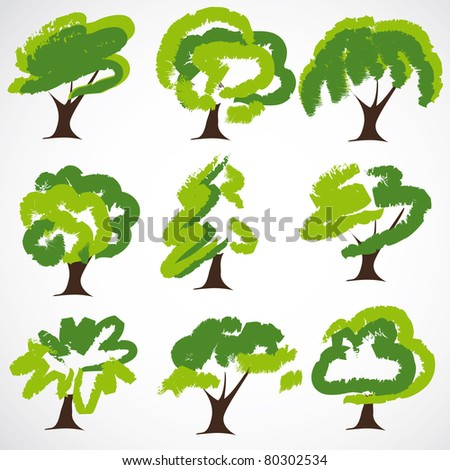 Set Of Drawn by a paint vector Trees
