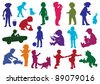Set of  drawn colored silhouettes of children (kids) and, children play, dance, walk, drink from glass, move on child's car, play with a dog, cry. Vector illustration. - stock vector