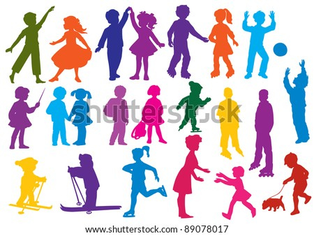 Set of  drawn colored silhouettes of children (kids) and mother and the girl, children play, dance, walk, go for a drive on rollers, play a ball, study, are friends, go for a drive on skis, skate. - stock vector
