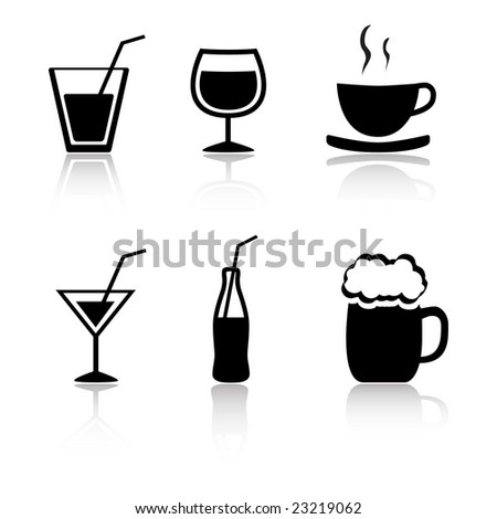 Set of 6 drink icon variations - stock vector