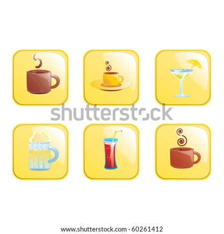Set of drink icons - stock vector
