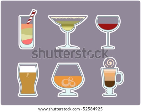 set of drinks for a bar menu - stock vector