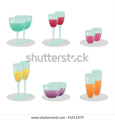 set of 6 drinks icons
