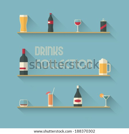 Set of drinks icons on shelves in modern flat design with long shadows. Eps10 vector illustration. - stock vector