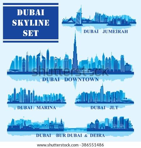 Set of Dubai districts, vector illustration - stock vector