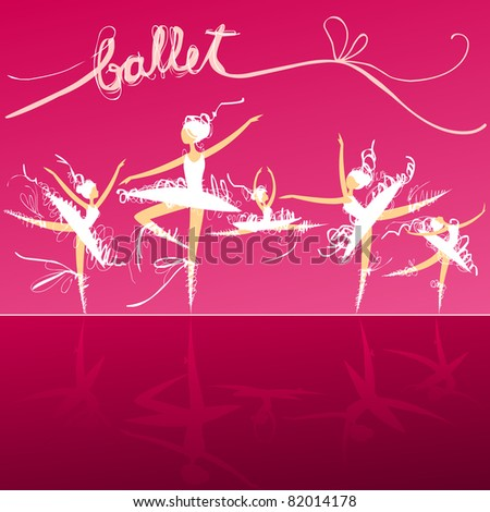 set of dynamic doodle ballet dancers on a stage - stock vector