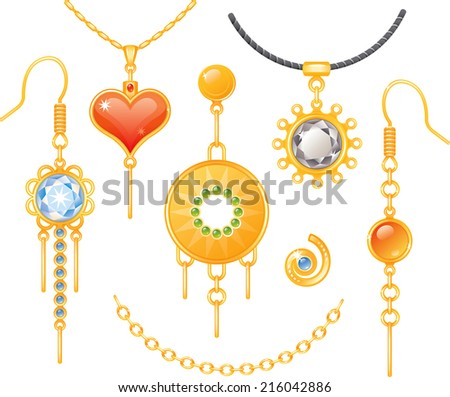 Set of earrings and necklaces - stock vector