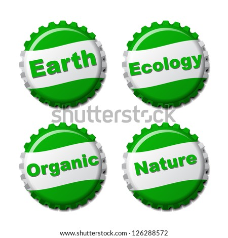 Set of earth bottle caps isolated on white background, vector illustration - stock vector