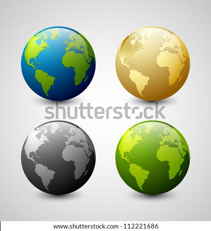Set of Earth globe icons isolated on light grey background - stock vector