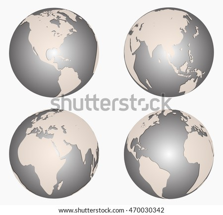Set of earth globes isolate on white background.
