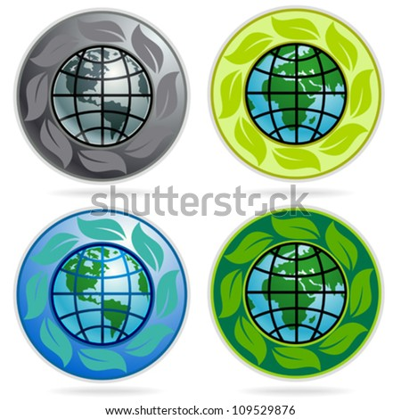 Set of Earth Labels, Stickers, Badges And Logos - stock vector