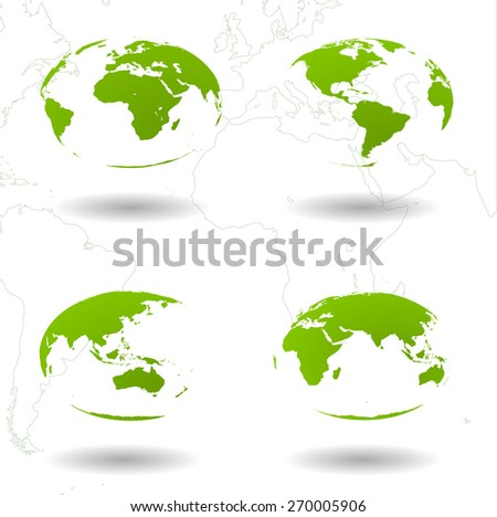 Set of Earth views. Symbol of ecology concept