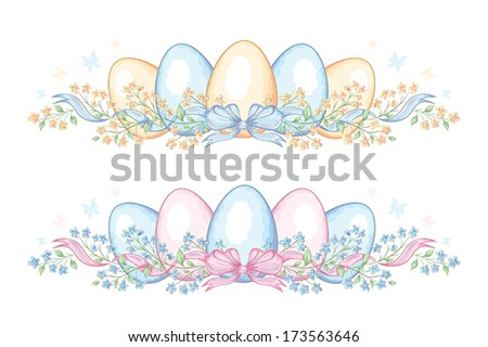 Set of easter borders with eggs and ribbon - stock vector