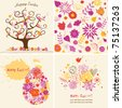 set of easter cards and seamless - stock vector