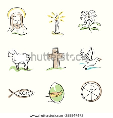 Set of Easter Christian symbols and spring hand drawn illustrations - stock vector