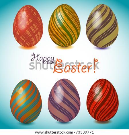 Set of easter eggs 2 - stock vector
