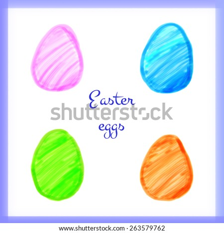 Set of easter eggs drawn with markers. Vector elements for your design.