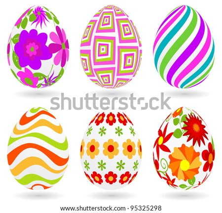 Set of Easter eggs. Global colors. Each one on a different layer.