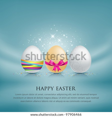 Set of easter eggs. with colorful ribbon blue fabric background. vector illustration - stock vector