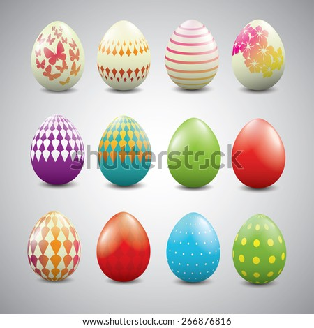 Set of Easter eggs with geometric patterns. - stock vector