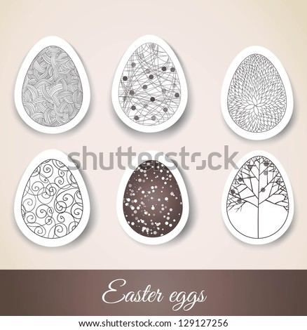 Set of Easter eggs with patterns on cut paper. Vector illustration - stock vector